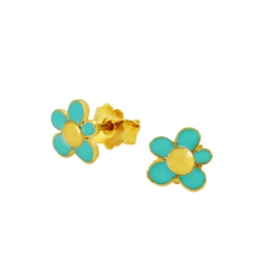 Earings silver 925 yellow gold plated with enamel - Wish Luck