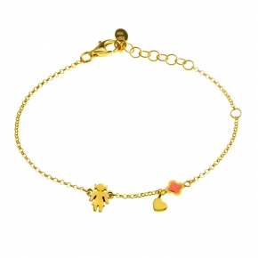 Bracelet silver 925 yellow gold plated with enamel - Wish Luck