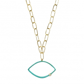 Necklace silver 925 yellow gold plated with turqoise  enamel and zirconia - Color Me