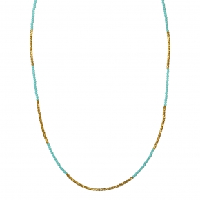 Necklace silver 925 yellow gold plated with turquoise - WANNA GLOW
