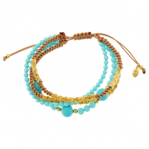 Bracelet silver 925 yellow gold plated with cord and turquoise - WANNA GLOW