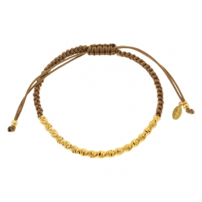Bracelet silver 925 yellow gold plated with cord - WANNA GLOW