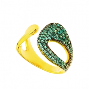Ring silver 925 yellow gold plated with zirconia - Color Me