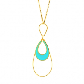 Necklace silver 925 yellow gold plated with turqoise  enamel - Color Me