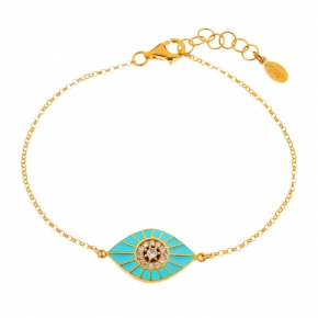 Bracelet silver 925 yellow gold plated with zirconia and enamel - WANNA GLOW