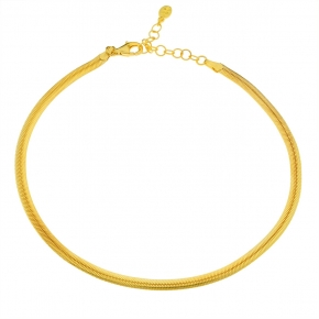 Foot chain silver 925 yellow gold plated - Funky Metal