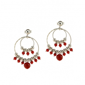 Earings silver 925 rhodium plated with coral - Color Me