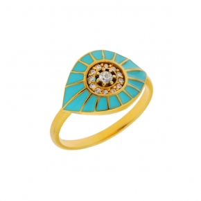 Ring silver 925 yellow gold plated with enamel and zirconia - WANNA GLOW