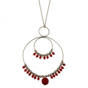 Necklase silver 925 rhodium plated with coral - Color Me