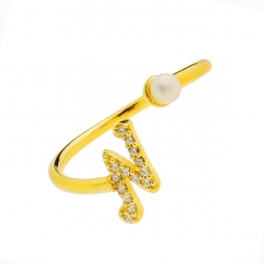 Ring silver 925 yellow gold plated with zirconia - Wish Luck