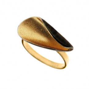 Ring silver 925 black rhodium plated with enamel - Funky Metal