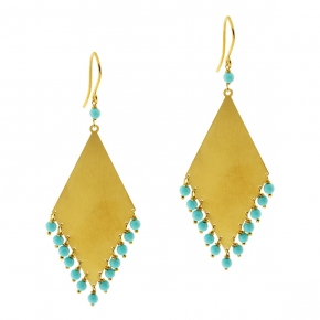 Earrings silver 925 yellow gold plated with turquoise - Color Me