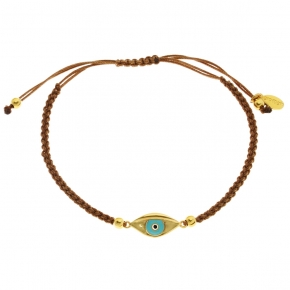 Bracelet silver 925 yellow gold plated with enamel evil eye and cord - Wish Luck