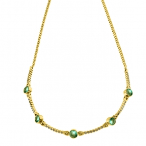 Necklase silver 925 yellow gold plated with zirconia - Color Me