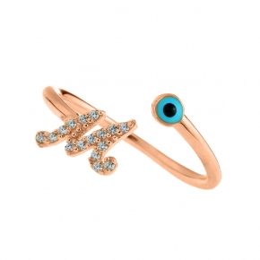 Ring silver 925 rose gold plated with zirconia - Wish Luck