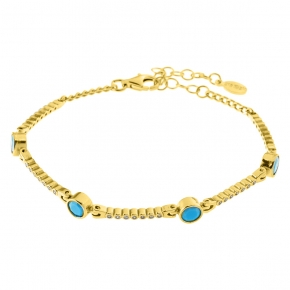 Bracelet silver 925 yellow gold plated with zirconia - Color Me
