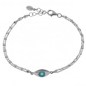 Bracelet silver 925 rhodium plated with enamel evil eye - Wish Luck