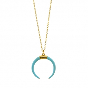 Necklace silver 925 yellow gold plated with enamel - WANNA GLOW