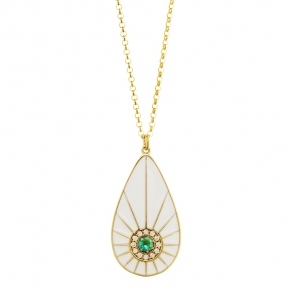 Necklace silver 925 yellow gold plated with enamel and zirconia - WANNA GLOW