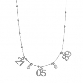 Necklace silver 925 rhodium plated with zirconia - Wish Luck