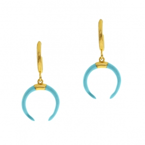 Earings silver 925 yellow gold plated with enamel - WANNA GLOW