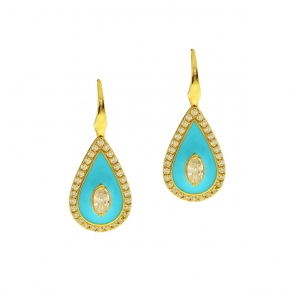 Earings silver 925 yellow gold plated with enamel and zirconia - WANNA GLOW