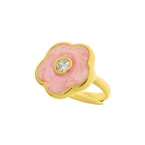 Ring silver 925 yellow gold plated with enamel and zirconia - Color Me