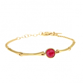 Bracelet silver 925 yellow gold plated with rubi - Color Me