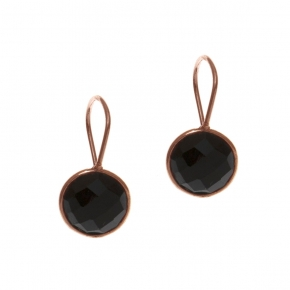 Earrings silver 925 rose gold plated with onyx - Color Me