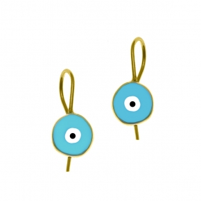 Earrings silver 925 yellow gold plated with enamel evil eye - Wish Luck
