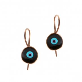 Earrings silver 925 pink gold plated with enamel evil eye - Wish Luck