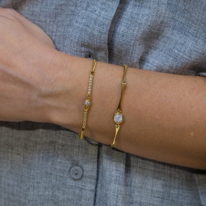 Bracelet silver 925 yellow gold plated with moonstone - Color Me
