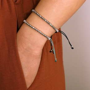 Bracelet silver 925 rhodium plated with cord - WANNA GLOW