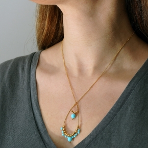 Necklace silver 925 gold plated with turquoise - Color Me