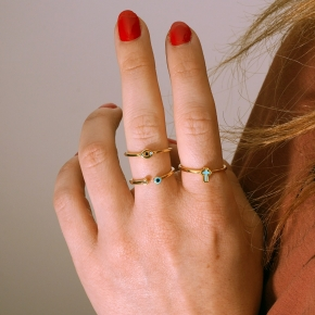 Ring silver 925 yellow gold plated with enamel - Simply Me