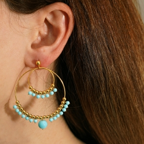 Earings silver 925 gold plated with turquoise - Color Me