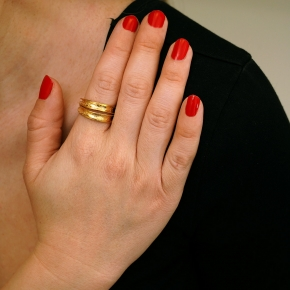 Ring silver 925 yellow gold plated - Funky Metal