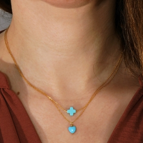 Necklace in silver 925 yellow gold plated with turquoise - Simply Me