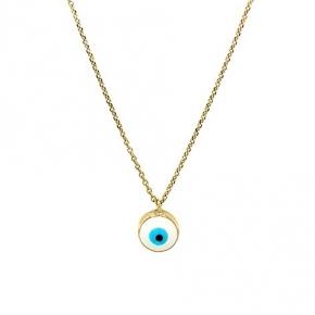 Necklace gold K14 with enamel evil eye - My Gold