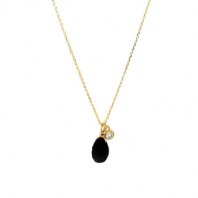 Necklace gold 14 carats with crystal - My Gold