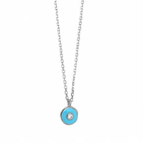 Necklace gold Κ14 with enamel evil eye and zirconia - My Gold