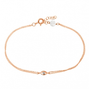Bracelet gold 14 carats with diamonds tw o,01ct - My Gold