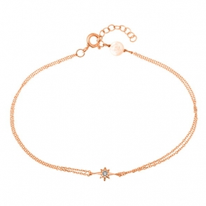 Bracelet gold 14 carats with diamonds tw 0,01ct - My Gold