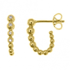 Earrings gold 14 carats with diamonds tw 0,065 ct - My Gold