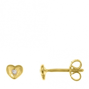 Earrings gold 14 carats with diamonds tw 0,02 ct - My Gold