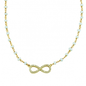 Necklace gold 14 carats with fresh water pearls and zirconia - My Gold