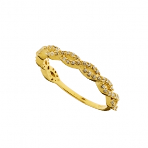 Ring yellow gold K14  with zirconia - My Gold