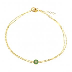 Bracelet gold 14 carats with enamel evil eye - My Gold
