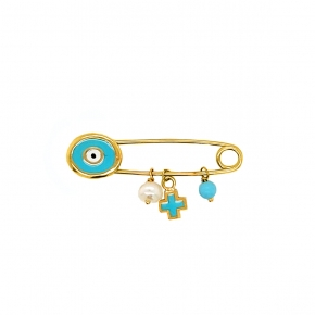 Pin gold 14 carats with enamel - My Gold