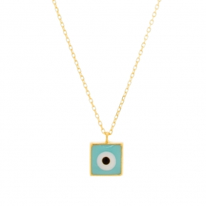Necklace gold Κ14 with enamel evil eye - My Gold
